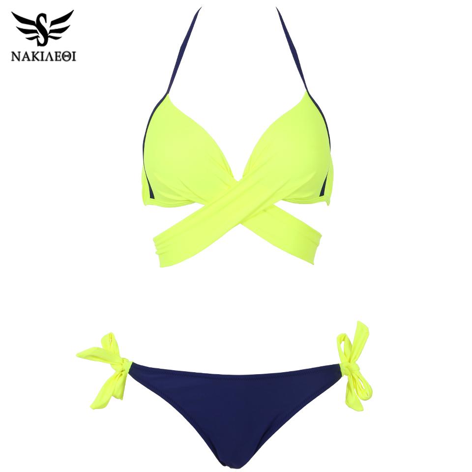 NAKIAEOI 19 Sexy Bikini Women Swimsuit Push Up Swimwear Criss Cross Bandage Halter Bikini Set Beach Bathing Suit Swim Wear XXL 6