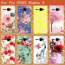 2017 New Fashion 10 Patterns Painting Colored Flowers Pears Soft tpu Case For Fly FS501 Nimbus 3 / FS 501 Nimbus3 Cover Sheer(China)