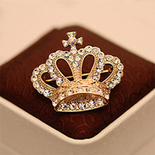 H:HYDE Nice Shipping Gold Color Fashion Rhinestone Crystal Luxury Imperial Crown Brooches Pin Corsage(China)
