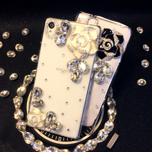 For Samsung Galaxy J2 2015 J200 Handmade Luxury Roses Flower Diamond Cover Rhinestone camellias Phone cases