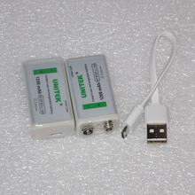 2PCS USB 9V rechargeable lithium ion battery 1200mAh 6F22 li ion cell + cable for microphone Guitar EQ smoke alarm multimeter(China)