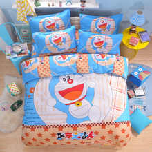 Cartoon Doraemon hello kitty bedding set for kids bed linen twin full queen king size bed sheet bedspread duvet cover pillowcase(China)
