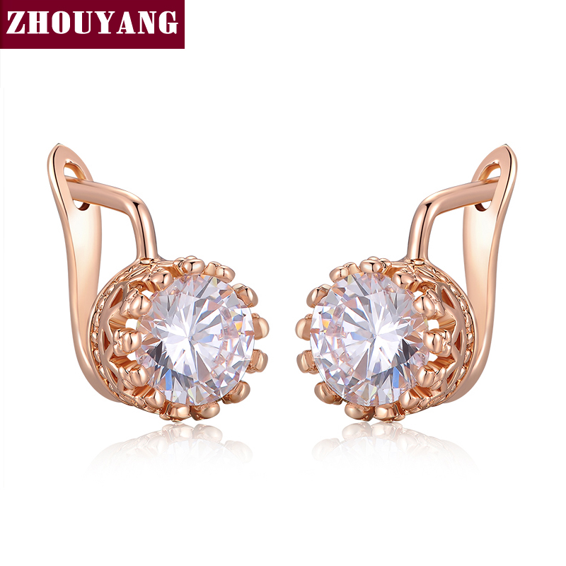 Top Crown Earring Rose Gold Color Jewelry Made Genuine Austrian Crystal Wholesale ZYE610 ZYE611