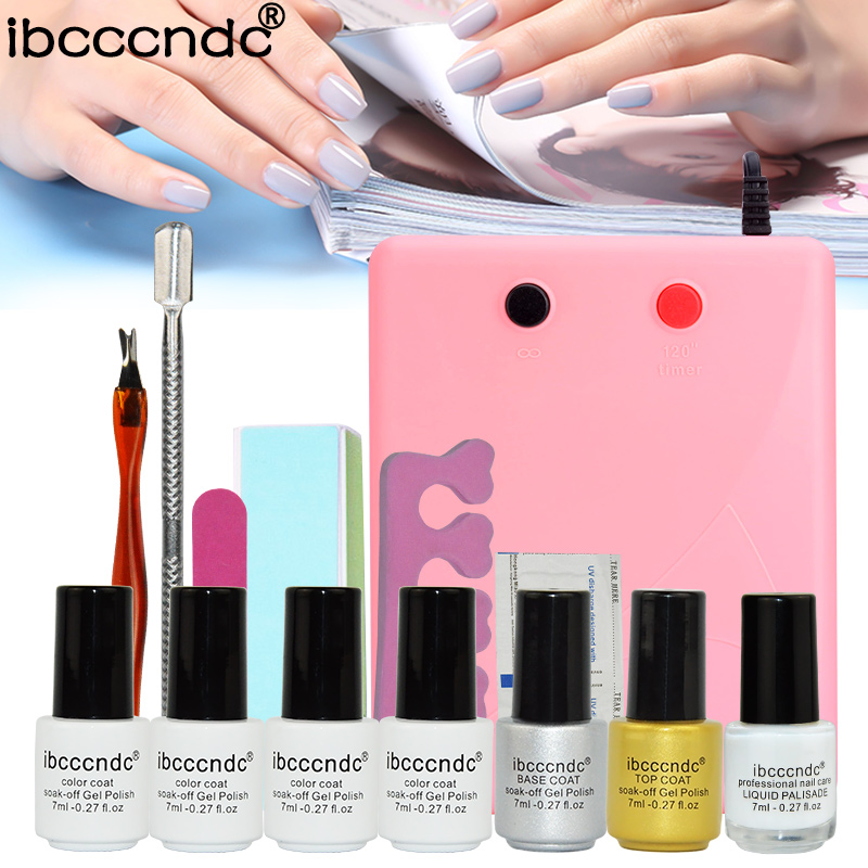 Professional manicure tool 36w UV Lamp+4 color uv Gel varnish Top Base Coat+latex liquid nail protection glow nail polish set<br>