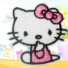 Embroidered iron on patches for clothes Cute Cartoon Hello Kitty deal with it clothing DIY Motif Applique Free shipping