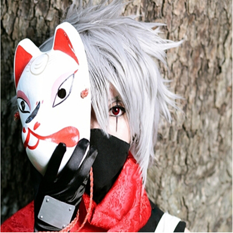 50pcs/lot Free Shipping Anime Japanese Fox Mask Full Face PVC Naruto Mask Cosplay Masks for Halloween Masquerade