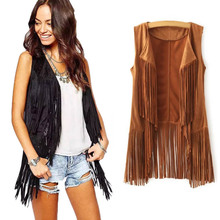 Women Autumn Spring Vest Long Tussals Waistcoat Faux Suede Ethnic Sleeveless Tassels Fringed Vest Cardigan