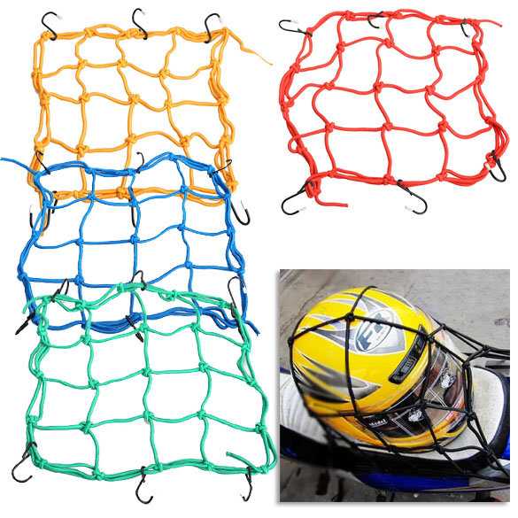1pc Motorcycle Bike 6 Hooks Hold Down Fuel Tank Luggage Net Mesh Web Bungee Black Helmet Mesh 30*30cm(China (Mainland))