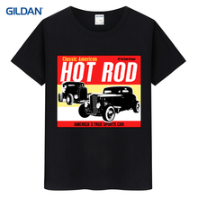 Mens Black And White Tee Shirt 2017 Hot Rod Garage Race Low Hot Muscle Car Mens Fashion T Shirt Summer T-Shirt For Guys Clothes(China)