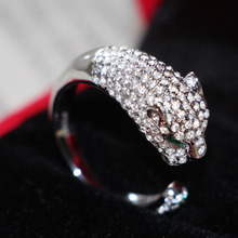 Luxury Leopard Head Shape Simulate Diamond Female Animal Style Marriage Ring Pure 18K White Gold Ring Promise Wedding Jewelr