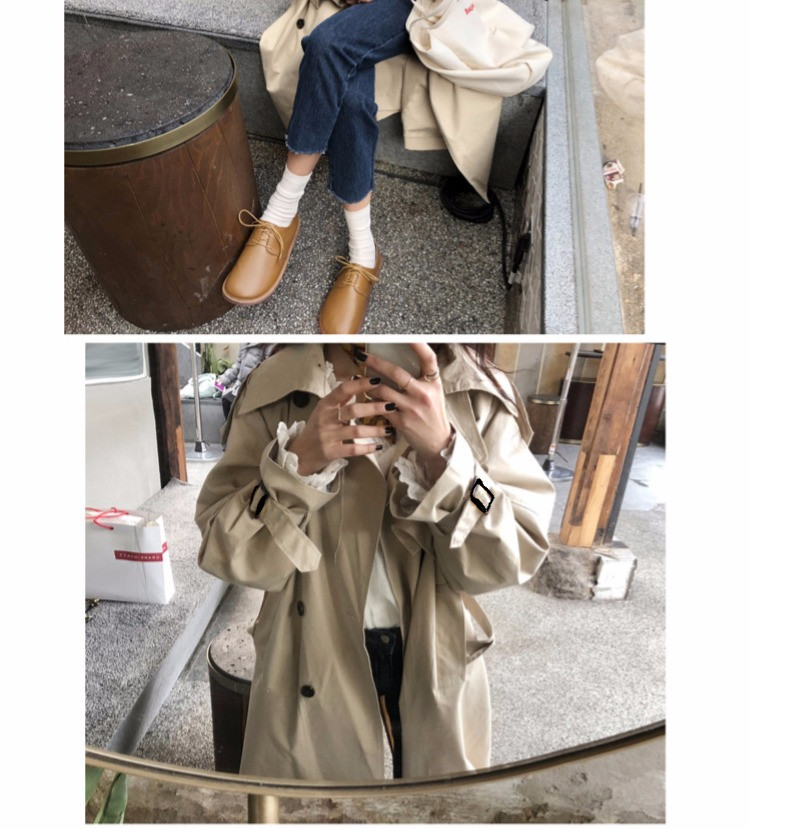 Abrigos Spring Autumn 18 Korean Fashion Double Breasted Mid-long Trench Coat Mujer Loose Belt large size Windbreak Outwear 14