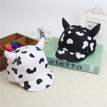 6-18M New Baby Hat with Ears Cartoon Cow Hat  Summer Autumn Baby Boy Sun Hats Pure Cotton Caps Girls Visors