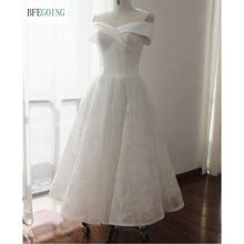 The Tea Length A-line Wedding dress Beaded Lace and Highlighted an Asymmetrically Draped Portrait Neckline Custom made(China)