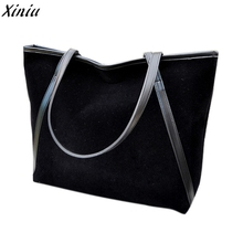 Womens Shoulder Bags New Simple Winter Larger Capacity Handbag Suede Leather Women Bag Black bolsa masculina lona #9926(China)