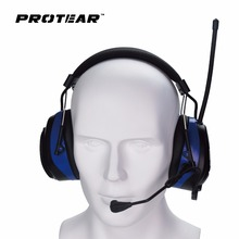 Protear NRR 25dB Bluetooth 4.3 Hearing Protector with Microphone Ear Defender Ear Protection with AM/FM Tuner(China)