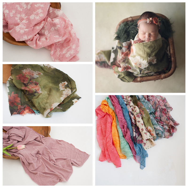 Fashion Newborn Baby Photography Props Floral Wrap Blanket Decorative Baby Shooting Flower Mat Retro Infant Photo Accessories 13