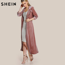 SHEIN Roll Tab Sleeve Belted Velvet Duster Coat Pink Single Breasted Work Lapel Long Sleeve Elegant Fall Womans Coats(China)