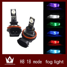 Guang Dian 2pcs High power Auto RGB 18 multi Mode Car vehicle auto H11 H8 Car LED fog light lamp Bulb red green blue car cocvers(China)