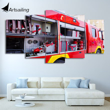 HD Printed 5 Piece Canvas Art Fire Truck Painting Fire Tools Wall Pictures Decoration Modular Painting Free Shipping CU-1949C(China)