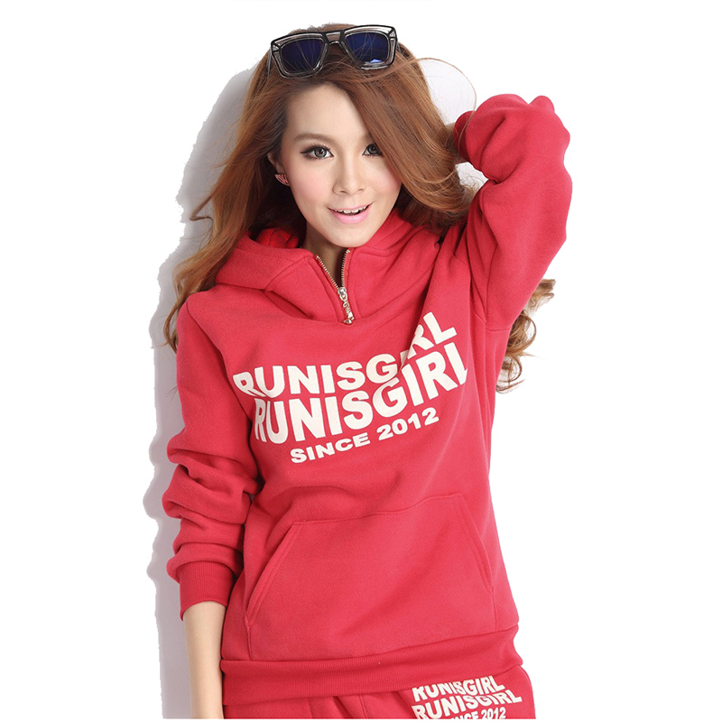 2018 Autumn Winter Casual Sets Ladies Hooded Sweater Sports Suit