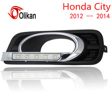 Car styling turn off and dimming style relay LED DRL Daytime Running Lights for Honda City 2012 2013 2014 with fog lamp(China)