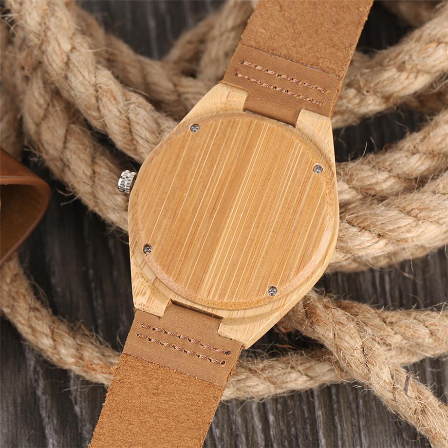 ทำมือไม้ไผ่นาฬิกาสำหรับผู้ชายผู้หญิงS CulptedออกแบบฉลามแบบDialหนังแท้สายคล้องสายนาฬิกาข้อมือ 6