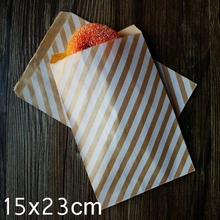 "Kraft Paper Bags, Favour bags, treat bags, giftwrapping, baked goods bag ""White Striped printing"" 15x23cm 100pcs/lot"