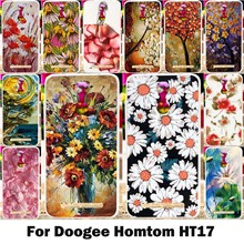 Flower Phone Case Doogee Homtom HT17 Cases Silicon Soft TPU Back Cover Painting Floral Covers Bags Shell Skin Hood Housing - WEE 3C Products Store store