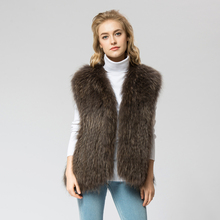 VR041-3  Knitted Real raccoon fur vest/ jacket /overcoat 4 colors Russian women's fashion winter warm genuine fur vests outwear