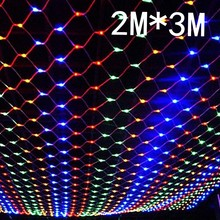 2mx3m 204 Led 8 modes 220V super bright net mesh string light xmas christmas light new year garden Lawn wedding holiday lighting(China)