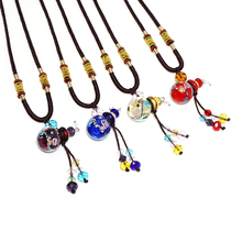high quality creative bead chain jewelry gift crystal perfume bottle pendant glass oil bottle necklace handicrafts wholesale