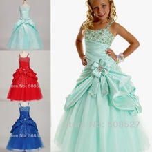 2017 Clearing Lake Blue/Royal Blue/Red Sweet Crystal Beading Tiered Pleats Flower Girl Dresses First Communion Dresses for Girls