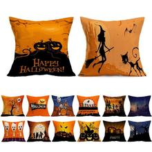 Cushion Cover Halloween Yellow Orange Skull Devil Pumpkin Bride Flower Ghost Pattern Home Car Sofa Bedroom Party Pillow Case