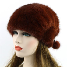2016Winter New Genuine Mink Fur Hat Beanies Hats Fashion Womens Mink Fur Caps Winter Headgear(China)