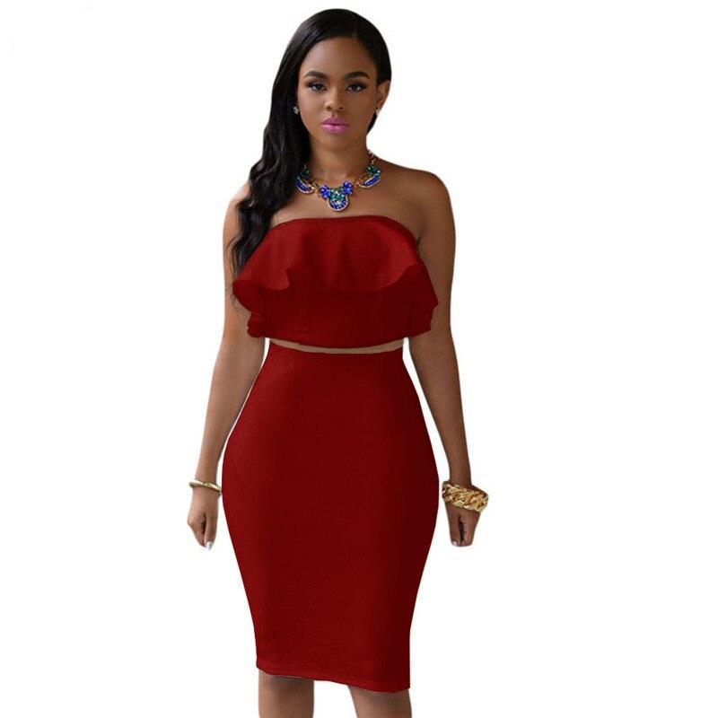 ADEWEL 2018 Women Off Shoulder Ruffles Two Piece Dress Sexy Bodycon Club Crop Top & Midi Dress Sets Party Dress Suit Vestidos (9)