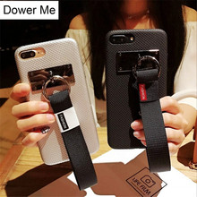Dower Me New Korean Fashion Simple Style Soft PU Phone Case Capa Cover With Hand Strap For iPhone X 8 7 6 6S Plus(China)