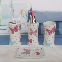 Ceramic bathroom set, lotion dispense, butterfly pattern bathroom decoration