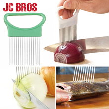 1Pcs Onion Cutter Aid Holder Stainless Steel Vegetable Slicer Potato Tomato Cutting Aid Guide Cooking Tool Kitchen Gadgets(China)