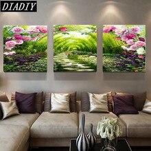 5D алмазная вышивка Триптих Пурпурная роза цветы украшение дома весь Алмазная мозаика площадь дрель рукоделие Алмаз живопись(China)