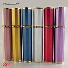 Wholesale 30pcs/lot Aluminum Mix Color Order Empty 8ml Metal Spray Bottle Beautiful Perfume Atomizer Small Refillable Bottles(China)