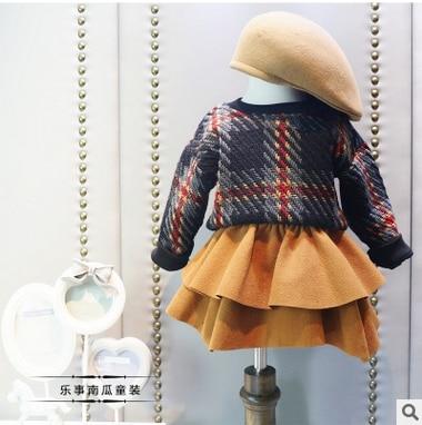 Han edition childrens wear the new winter 2016 children suit stylish girls shag line shirt + short skirt two-piece<br><br>Aliexpress