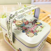 Hot Sale Vivid Peter Rabbit Tote Tin Box Jewelry Box Storage Organizer Case Iron Box Candy Box 10.5X6.2X7.8 cm