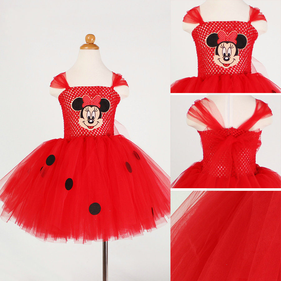 2017 High Quality Character Costumes for Birthday Parties Red Tutu Princess Party Cartoon Mini Mouse Dress(China (Mainland))