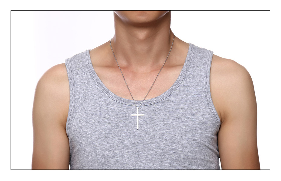 Meaeguet Immanuel Lover Cross Pendant Jesus Necklaces For Women Men Couple Silver Color Stainless Steel Religious Jewelry  (2)