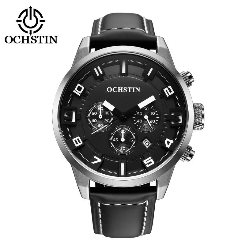 Brand Cool Big Case 3D Effect Multifunction Waterproof Sport Watches Genuine Leather Fashion Dress Watch Men Relojes de Hombre<br>