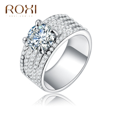 ROXI Rings For Women Classic Simple Design Inlaid Zircon Forever Wedding Ring Fashion Jewelry For Party as New Year Gift