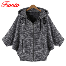 FIONTO Fashion Jackets Women Europe Loose Short Jacket Batwing Sleeve All Match Cardigan Black Hot Sale Spring Autumn Coat A081