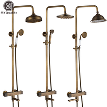 "Buy Brass Antique Thermostatic Bath Shower Faucet Set Dual Handle Tub Spout 8""Rainfall Temperature Control Shower Water Taps for $174.72 in AliExpress store"