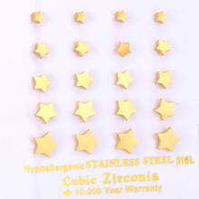 Brand New 10pairs/Card Gold Color Stud Earrings Five stars Style 4mm-8mm women Earrings Fashion Jewelry(China)