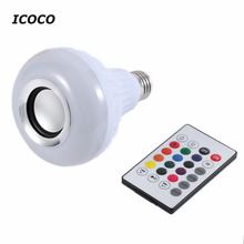 ICOCO Wireless Bluetooth Remote Control Mini Smart Audio Speaker Audio RGB Audio 24 LED E27 Colorful Playing & Lighting New